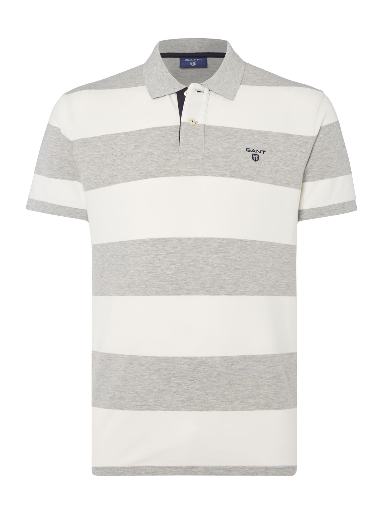 Men's Gant Short Sleeve Bar Stripe Polo Shirt, Grey