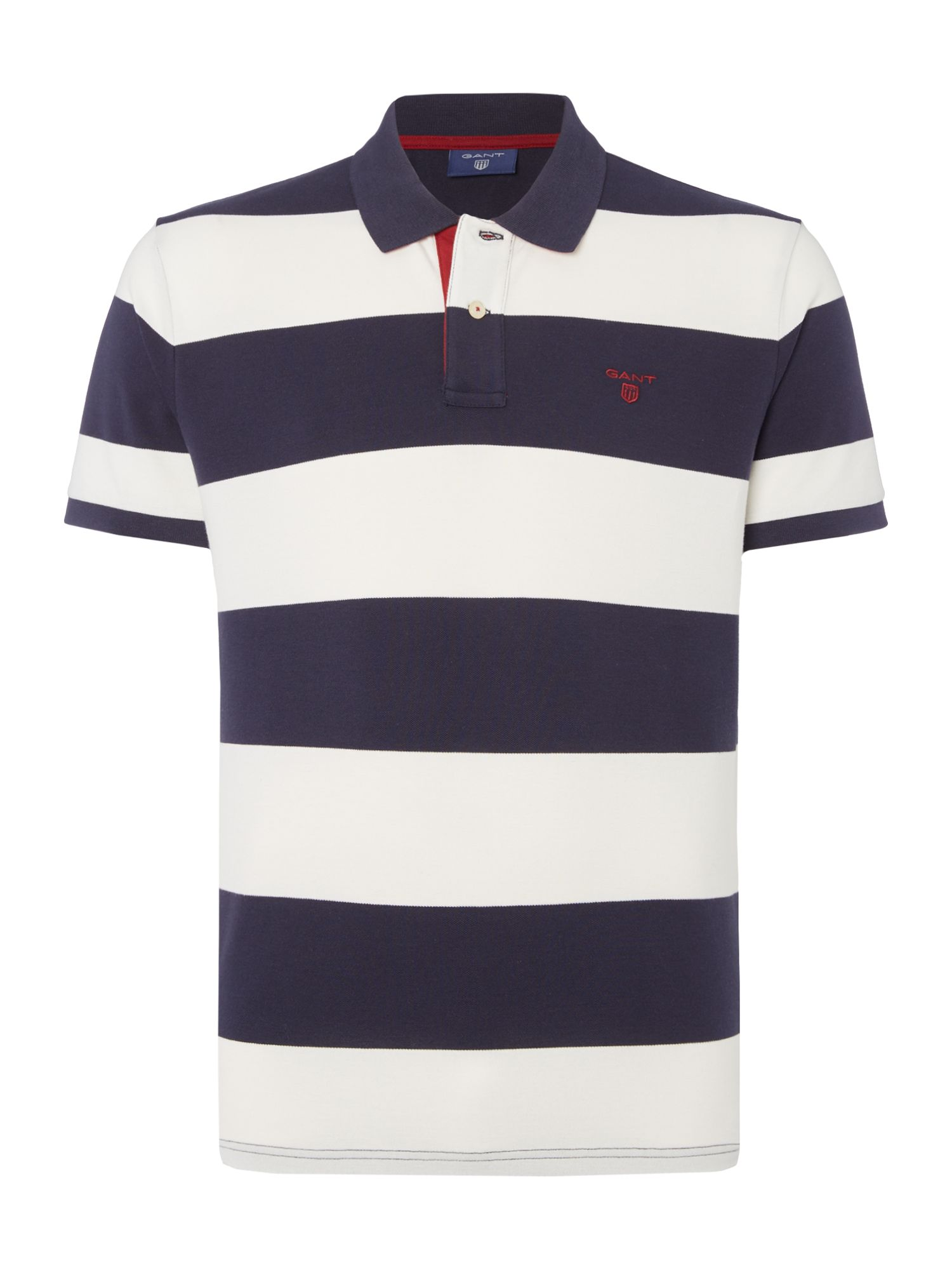 Men's Gant Short Sleeve Bar Stripe Polo Shirt, Blue