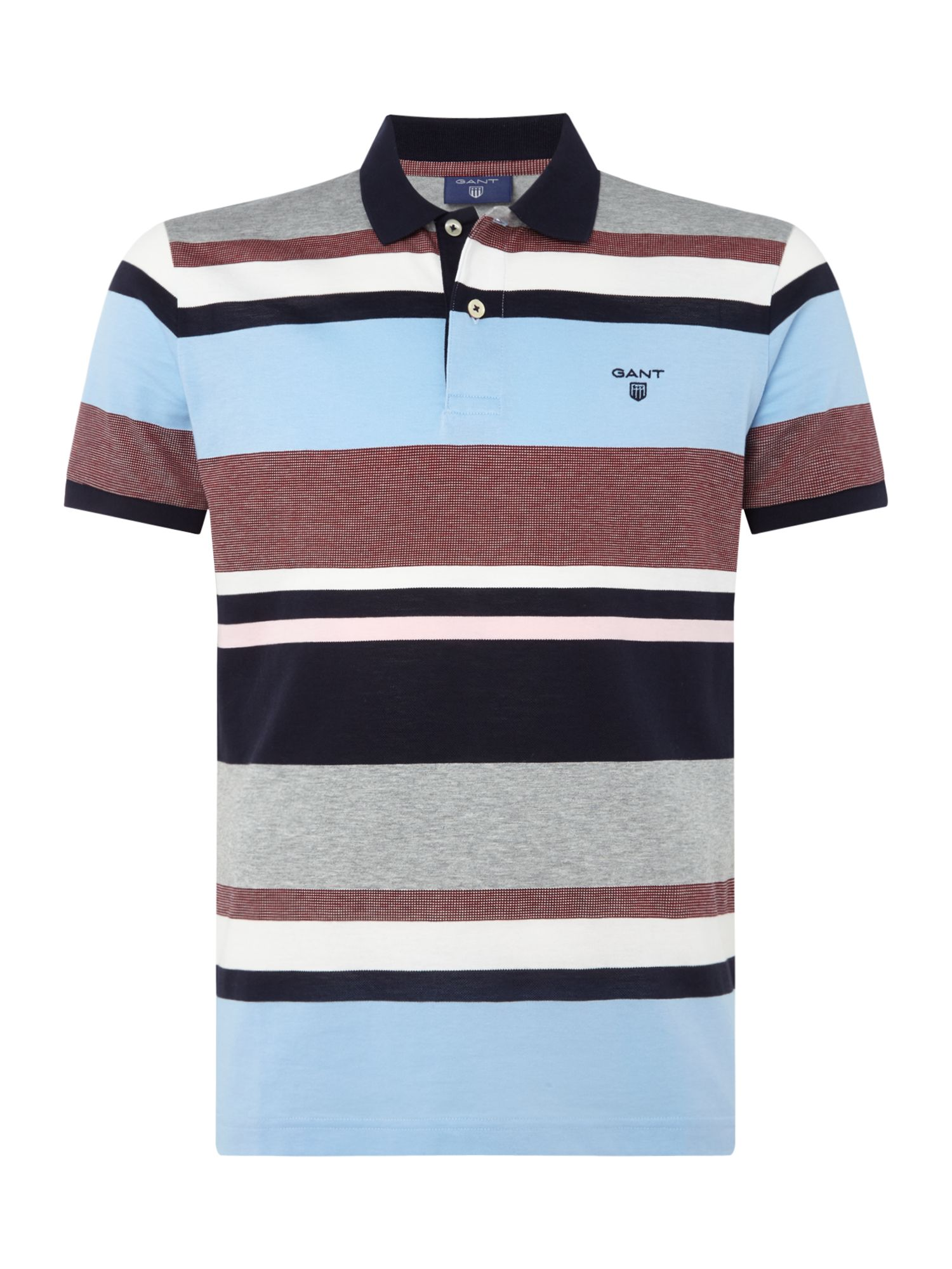 Men's Gant Short Sleeve Multi Stripe Pique Polo, Multi-Coloured