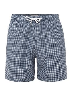 Gingham Print Mid Length Swimshorts