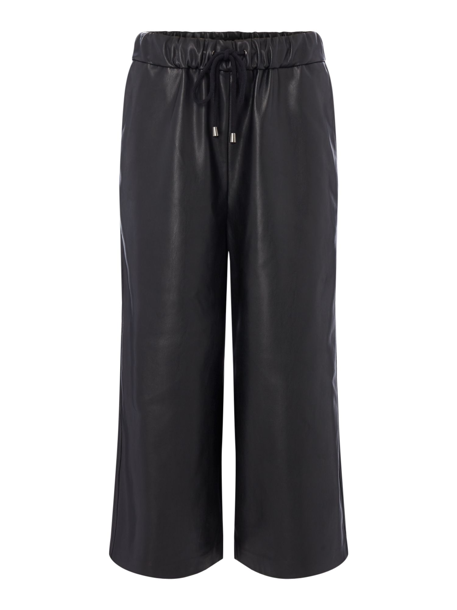 Label Lab PU Crop Wide Leg Trouser, Black