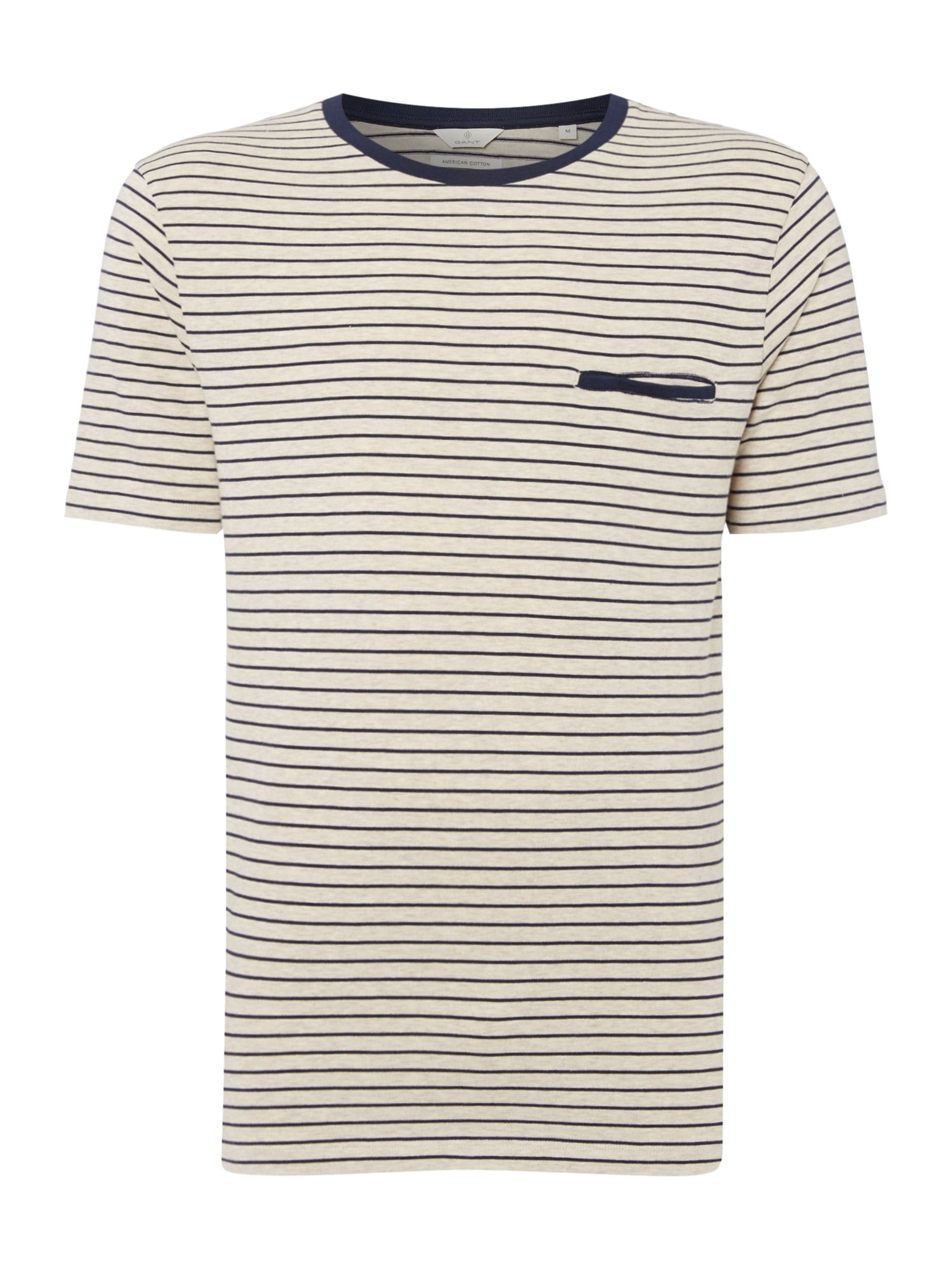 Men's Gant Striped Crew Neck T-Shirt, Grey