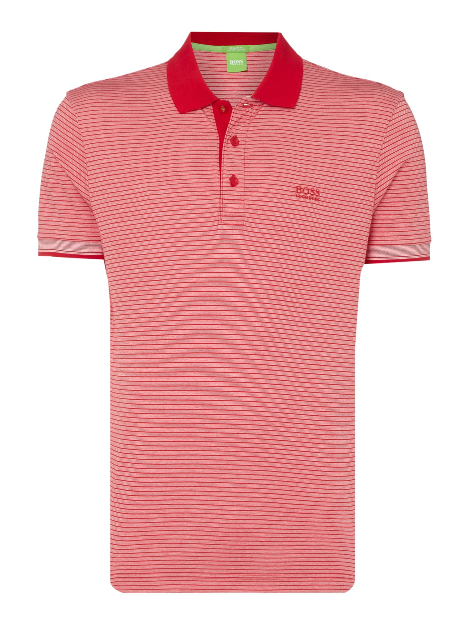 Men's Hugo Boss Paddos Stripe Short Sleeve Regular Fit Polo Shirt, Red