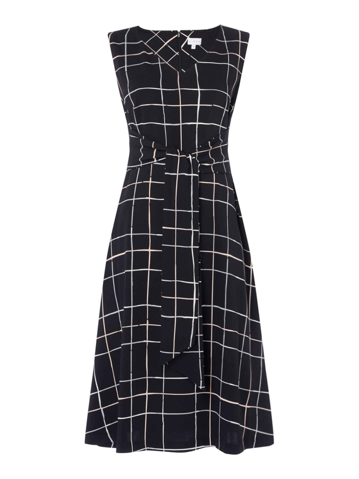 Linea Patsy printed tie front dress, Black
