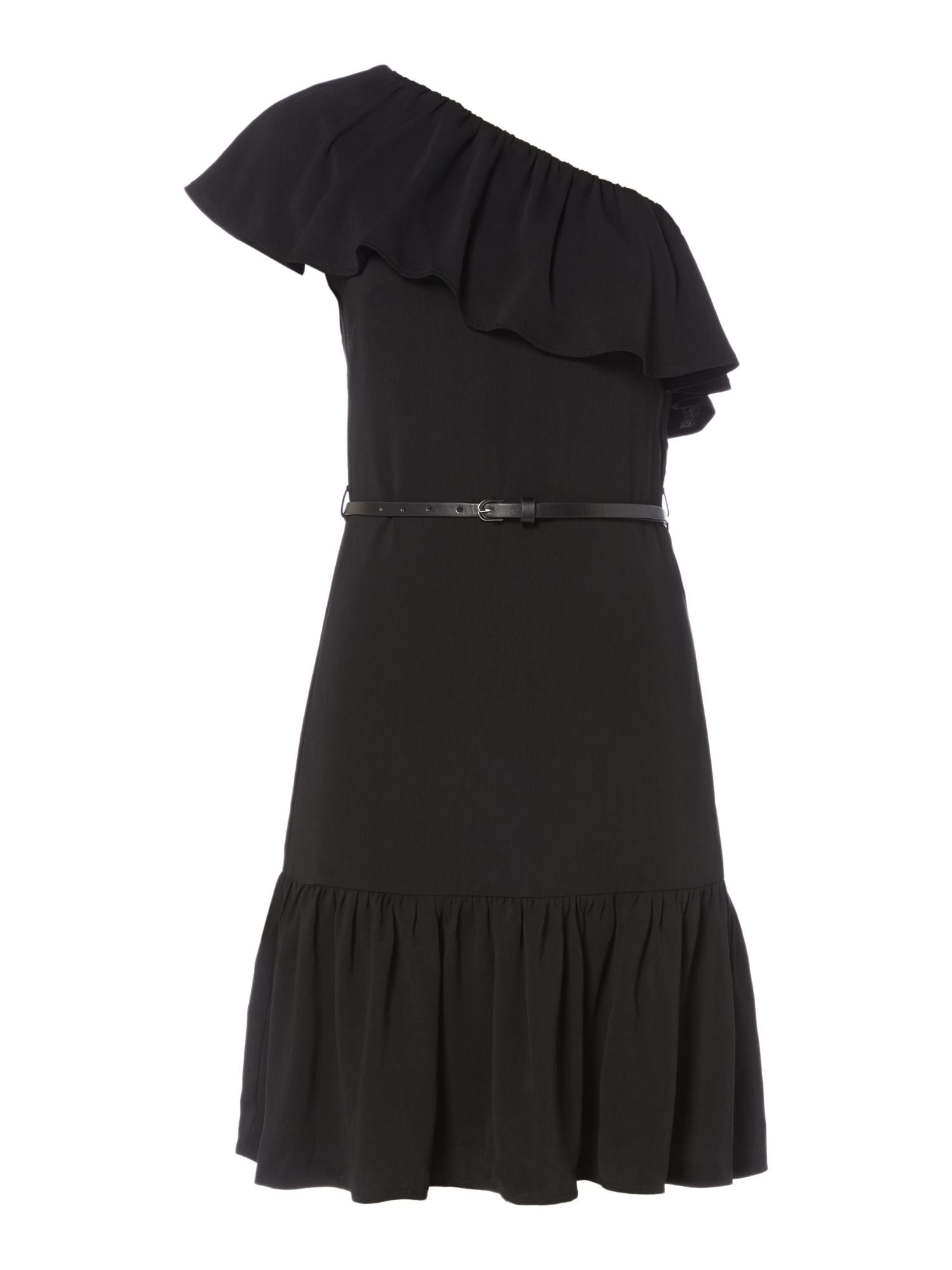 Therapy Clarissa one shoulder ruffle dress, Black