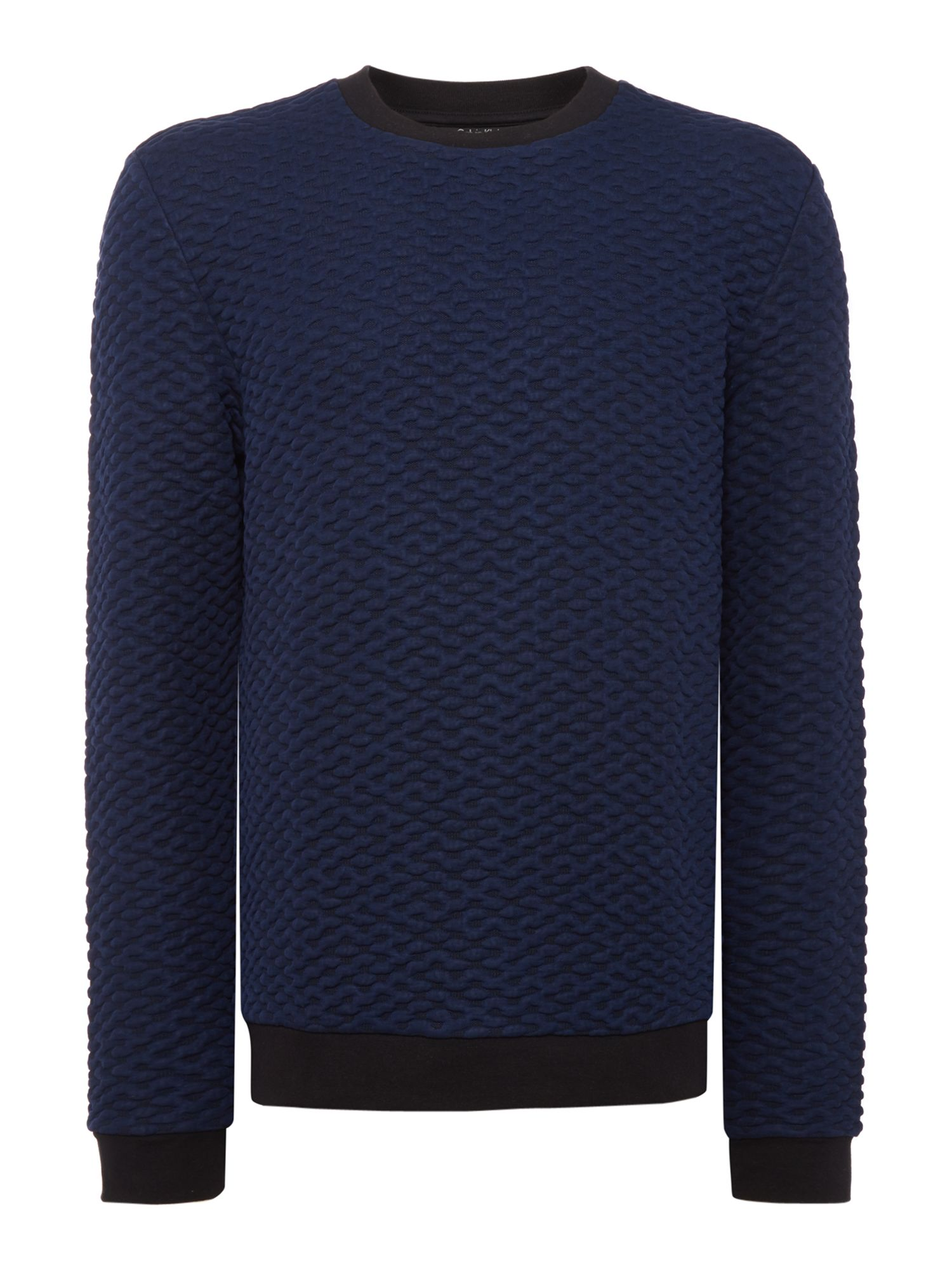 Men's Calvin Klein Kannor Blister Jacquard Sweater, Mid Blue