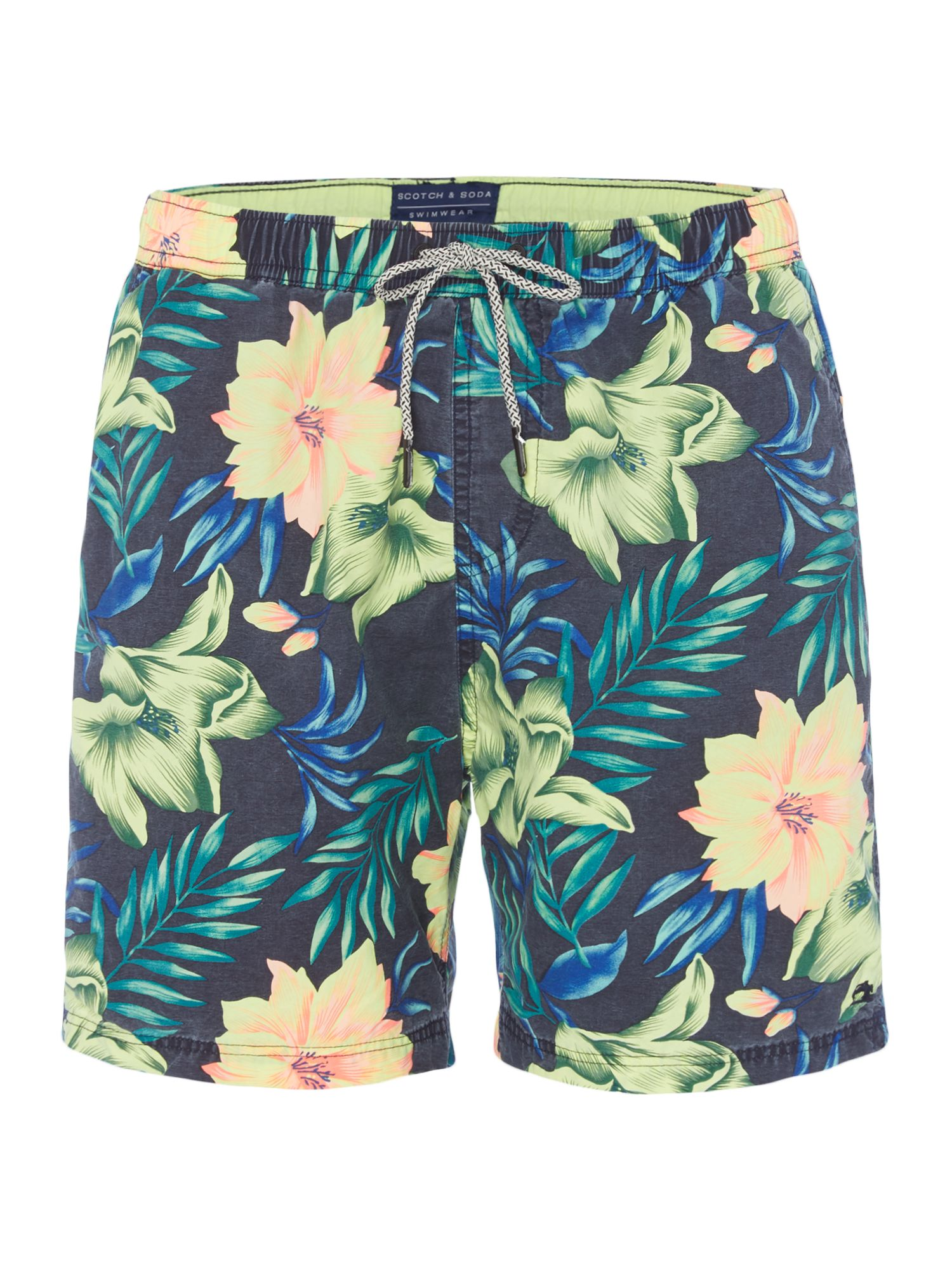 Men's Scotch & Soda Mid-length All-Over Swim Shorts, Blue