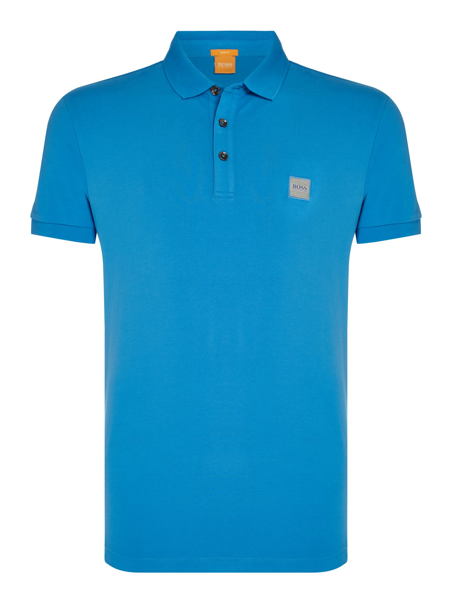 Men's Hugo Boss Pavlik slim fit patch logo polo shirt, Blue
