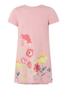 Sugar Pink Girls Floral Dress with Pleat Back