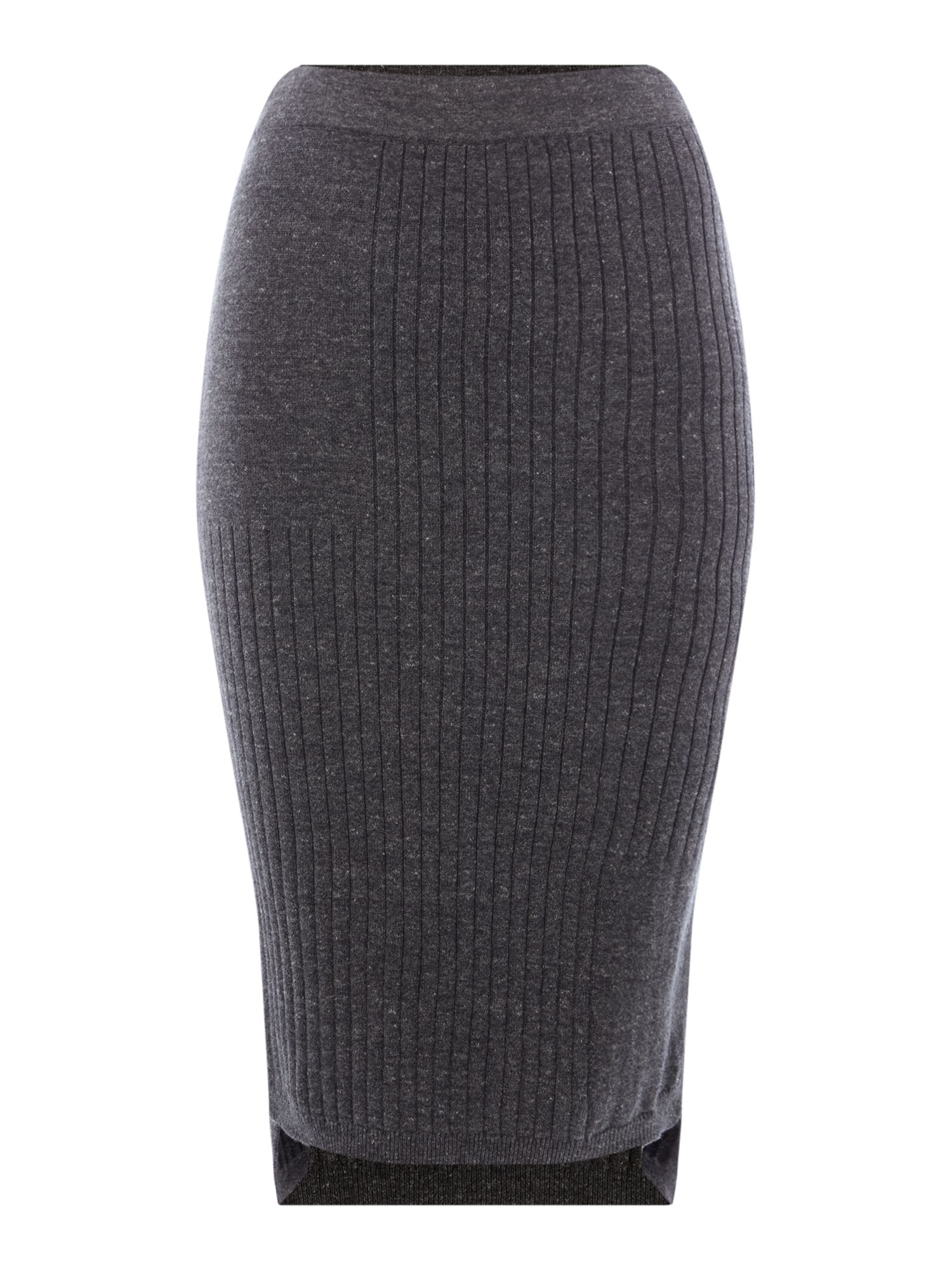 Maison De Nimes Rib Knitted Skirt, Charcoal