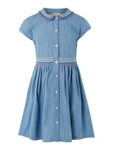 Sugar Pink Girl Short Sleeve Chambray Shirt Dress