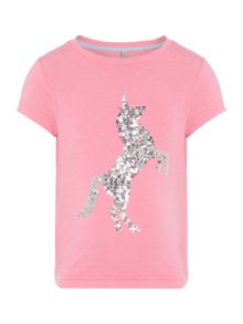 Joules Girls Sequin Unicorn Short Sleeve T-Shirt