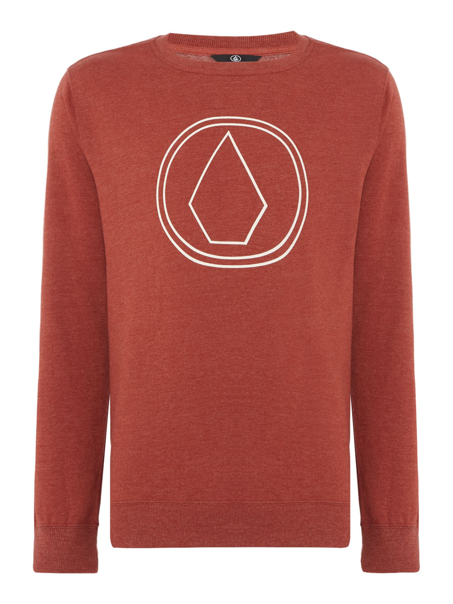 Men's Volcom Crew Neck Printed Jumper, Red