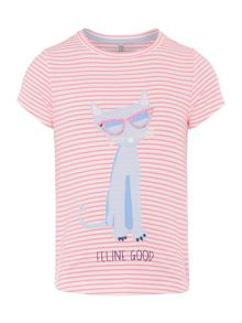 Joules Girls Stripe Feline Good T-Shirt