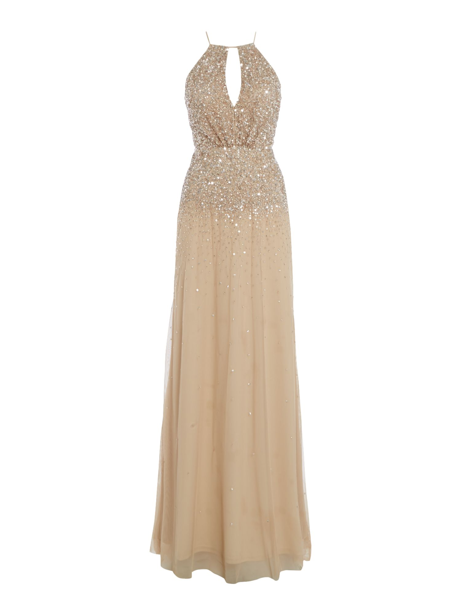 Adrianna Papell Long beaded halter neck dress, Champagne