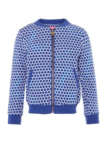 Joules Girls Zip Up Dot Print Bomber