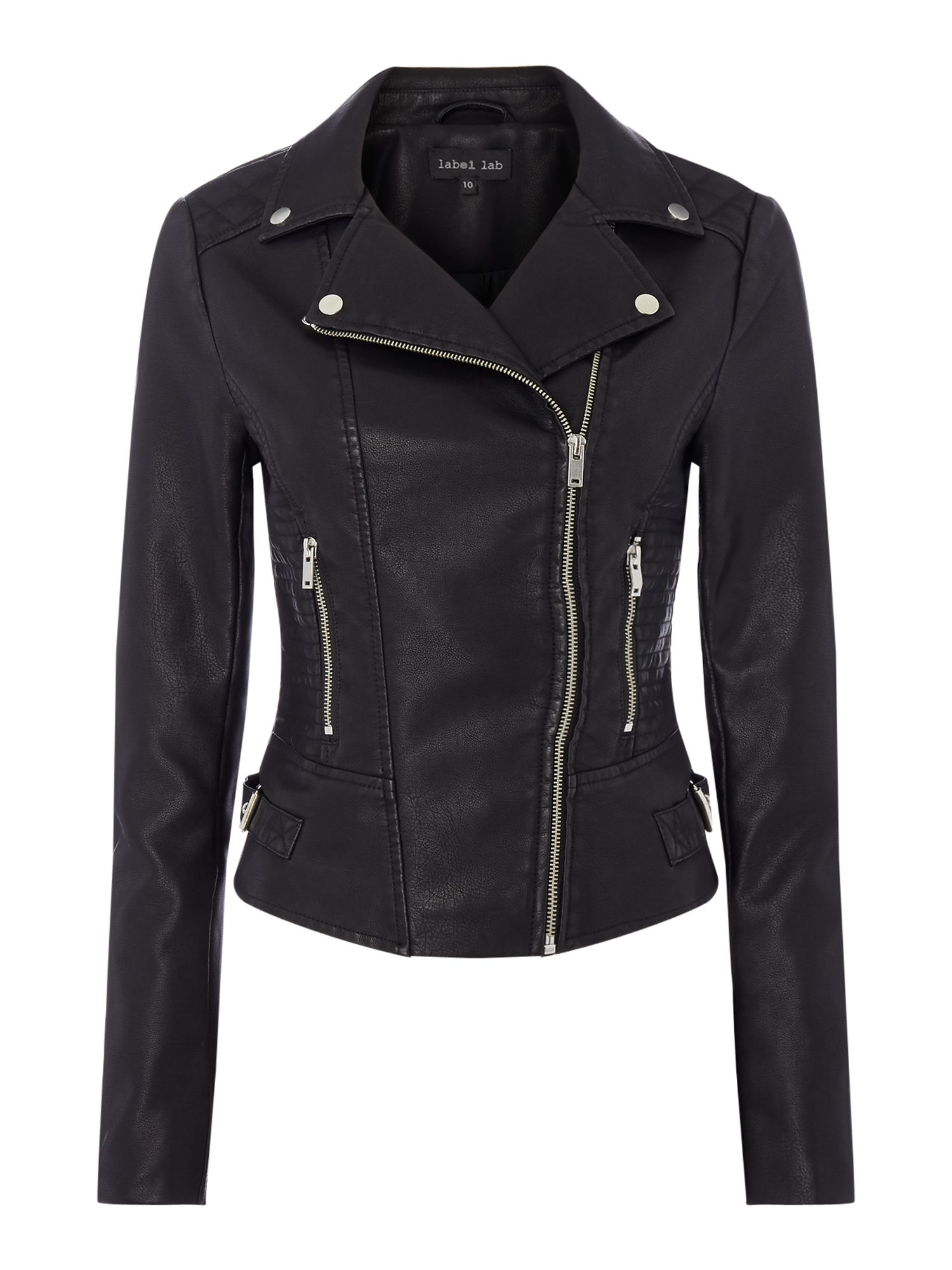 Label Lab Emi PU Biker Jacket, Black