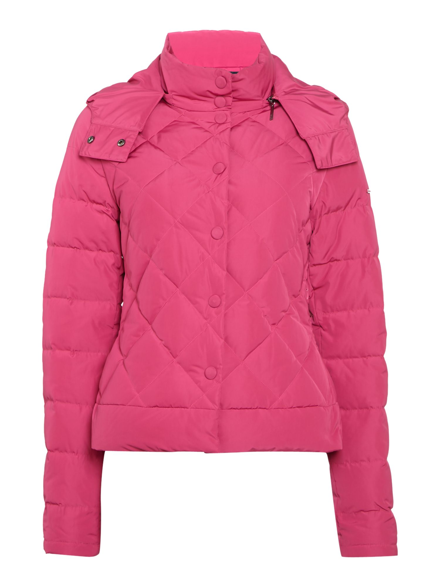 Armani Jeans Quilted Short Padded Jacket in Fuxia, Pink