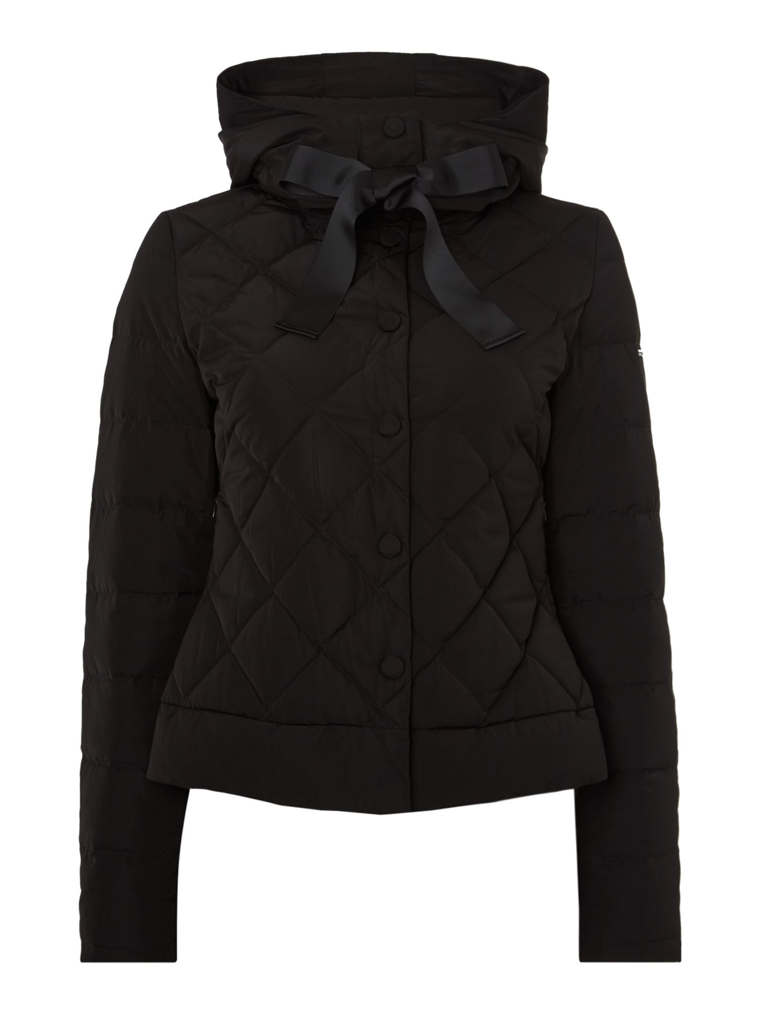 Armani Jeans Quilted Short Padded Jacket in Nero, Black