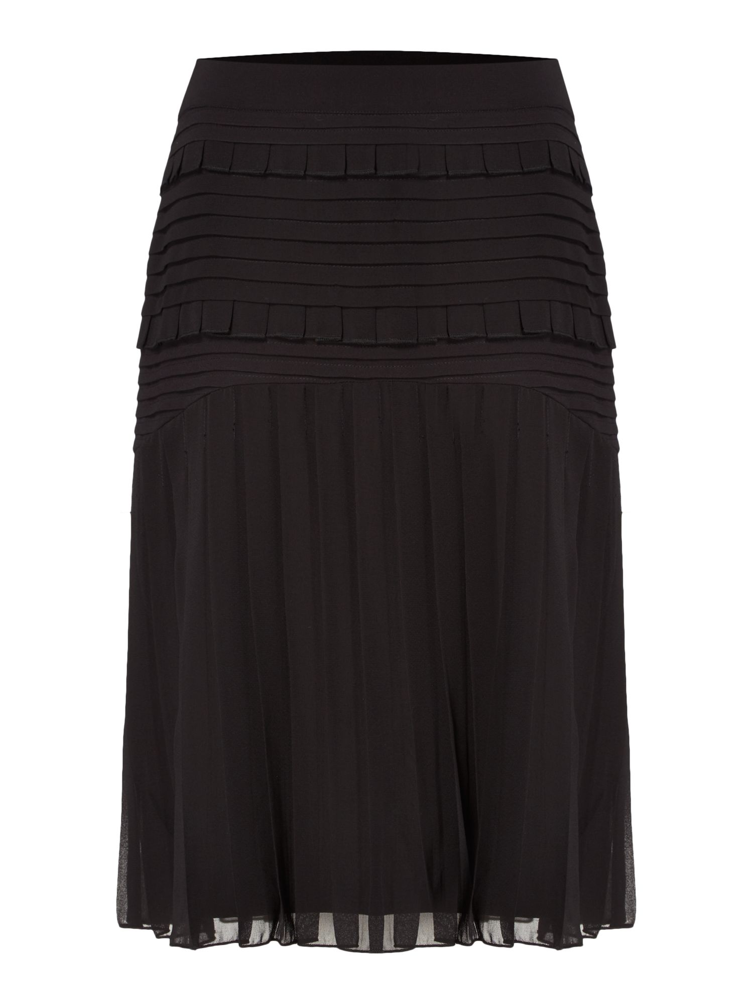 Biba Pleat and ruffle detail skirt, Black