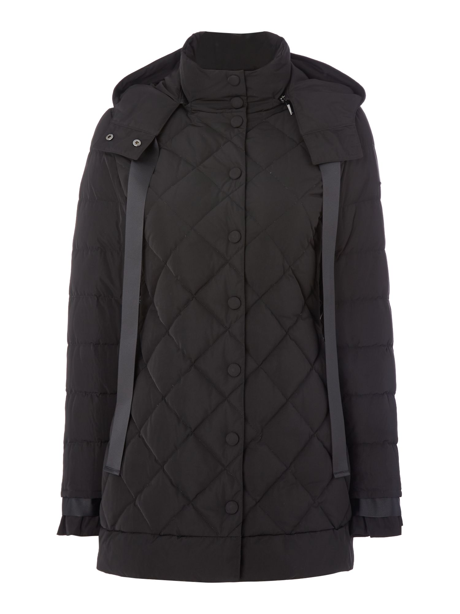Armani Jeans Long sleeved padded quilted jacket in nero, Black
