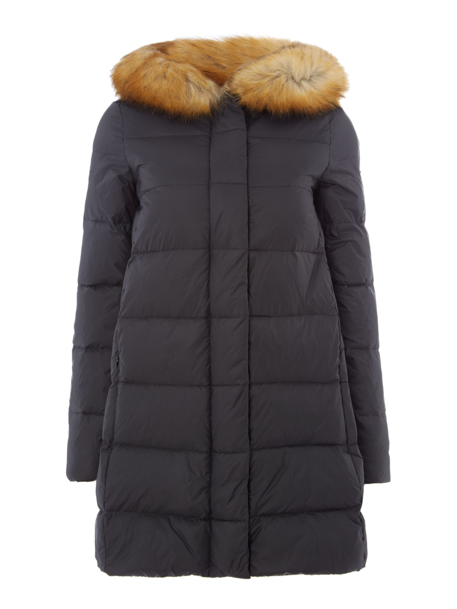 Armani Jeans Faux fur lined hooded padded jacket in nero, Black