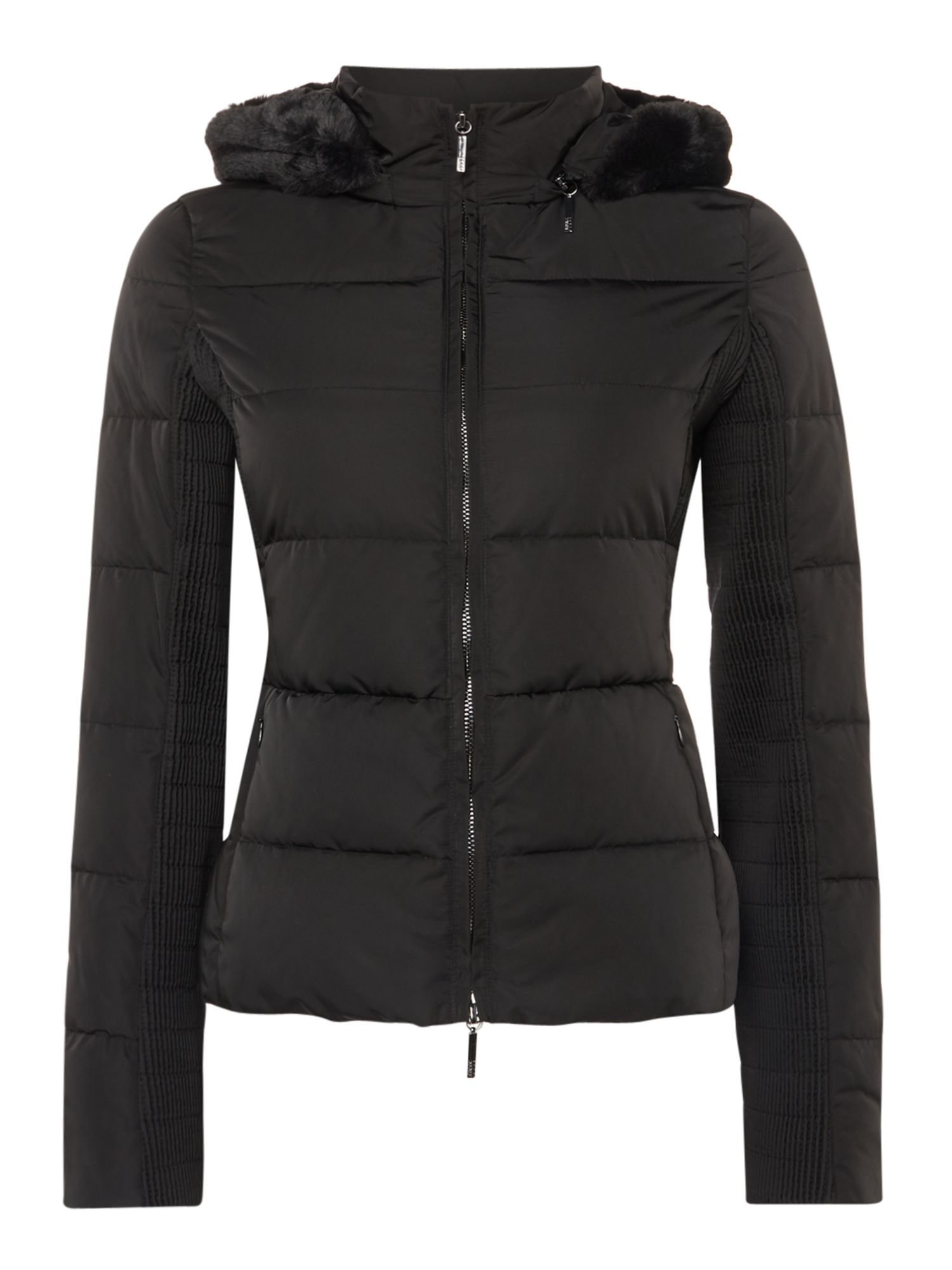 Armani Jeans Short padded hooded jacket in nero, Black