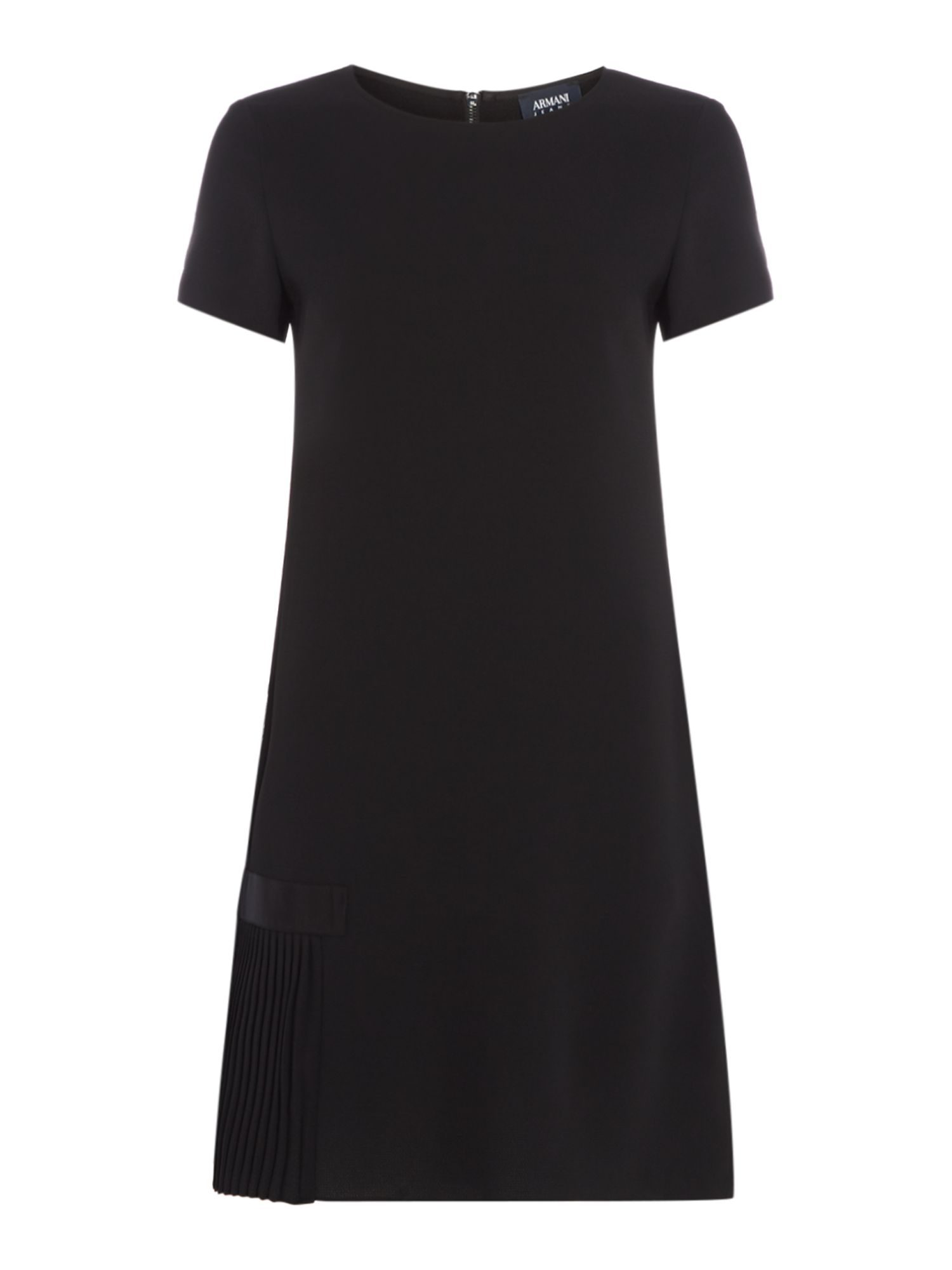 Armani Jeans SS pleat shift dress in nero, Black