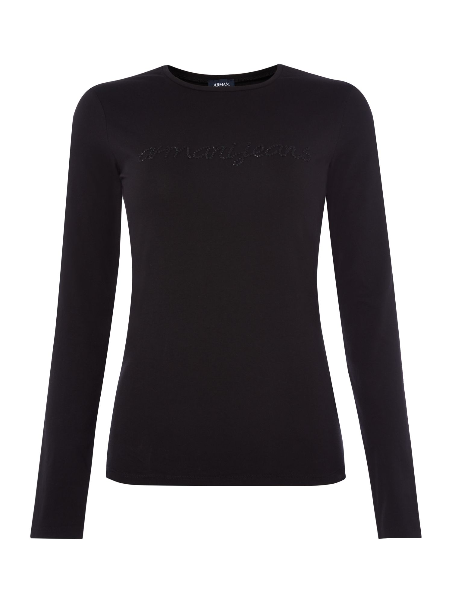 Armani Jeans Crew Neck Diamante Blouse in Nero, Black