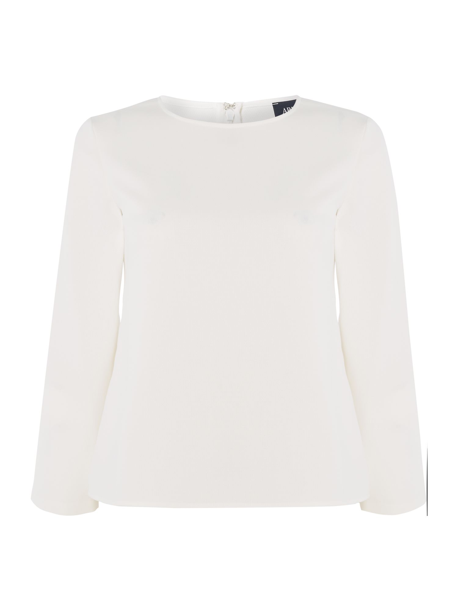 Armani Jeans Crew neck pleated blouse in off white, Off White