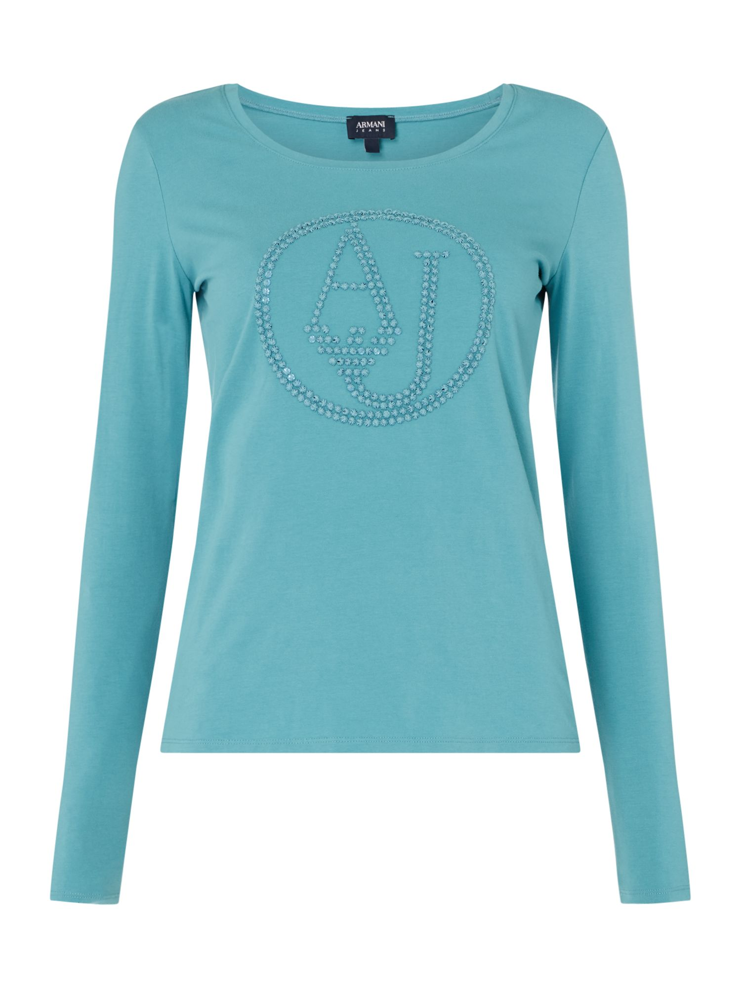 Armani Jeans Crew neck logo top in turchese, Turquoise