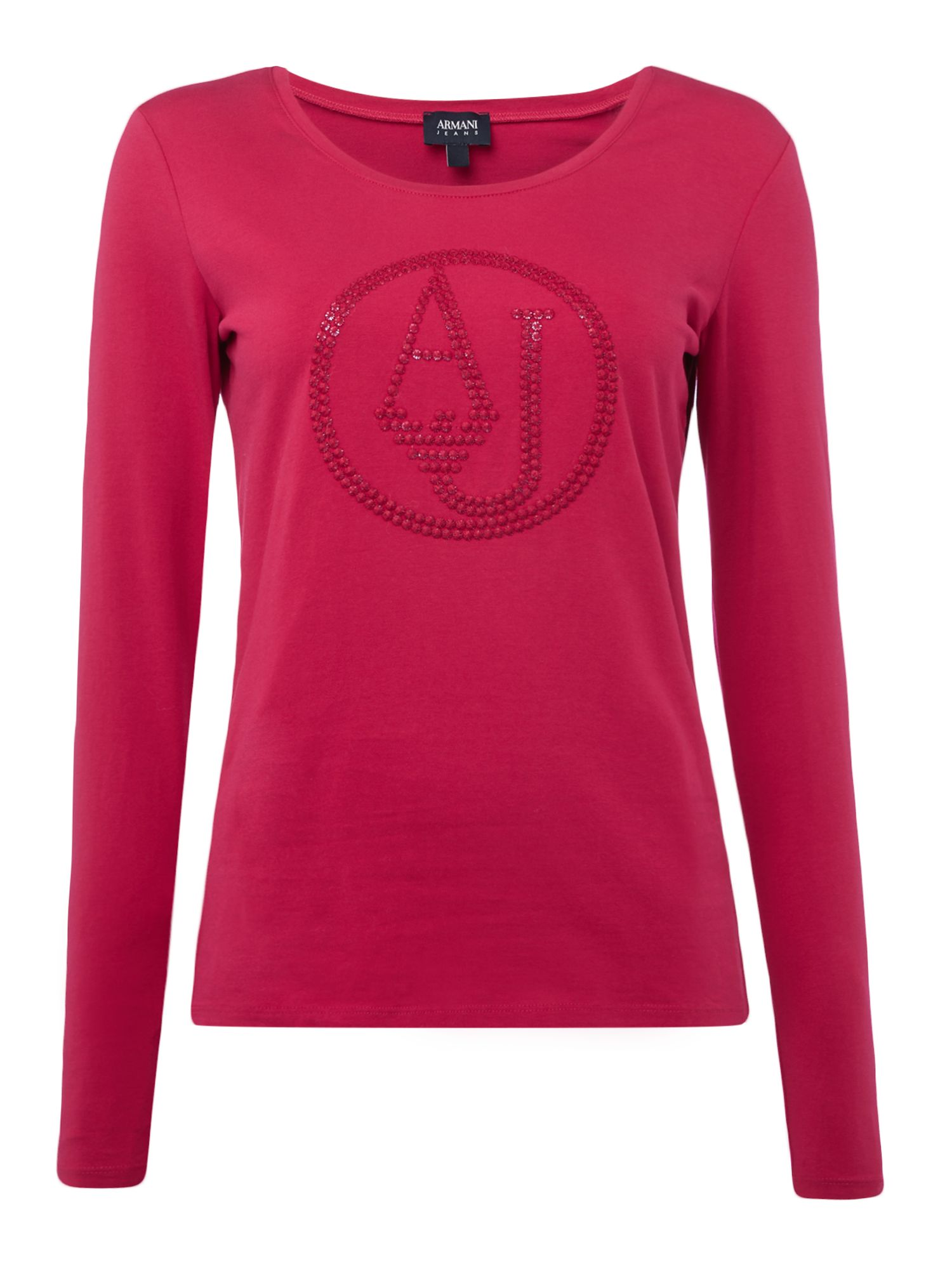 Armani Jeans Crew neck logo top in rosso ciliegia, Pink
