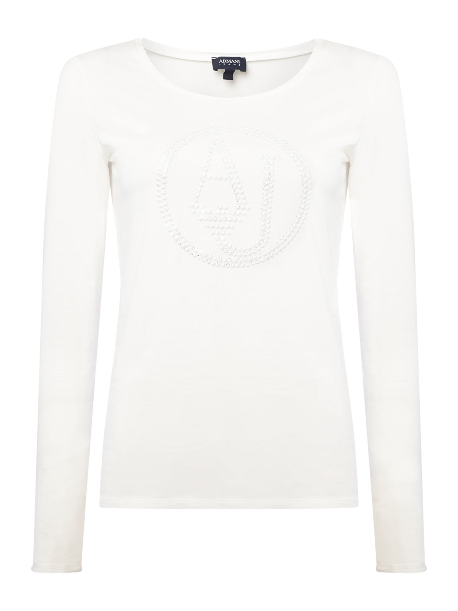 Armani Jeans Crew neck logo top in bianco latte, White