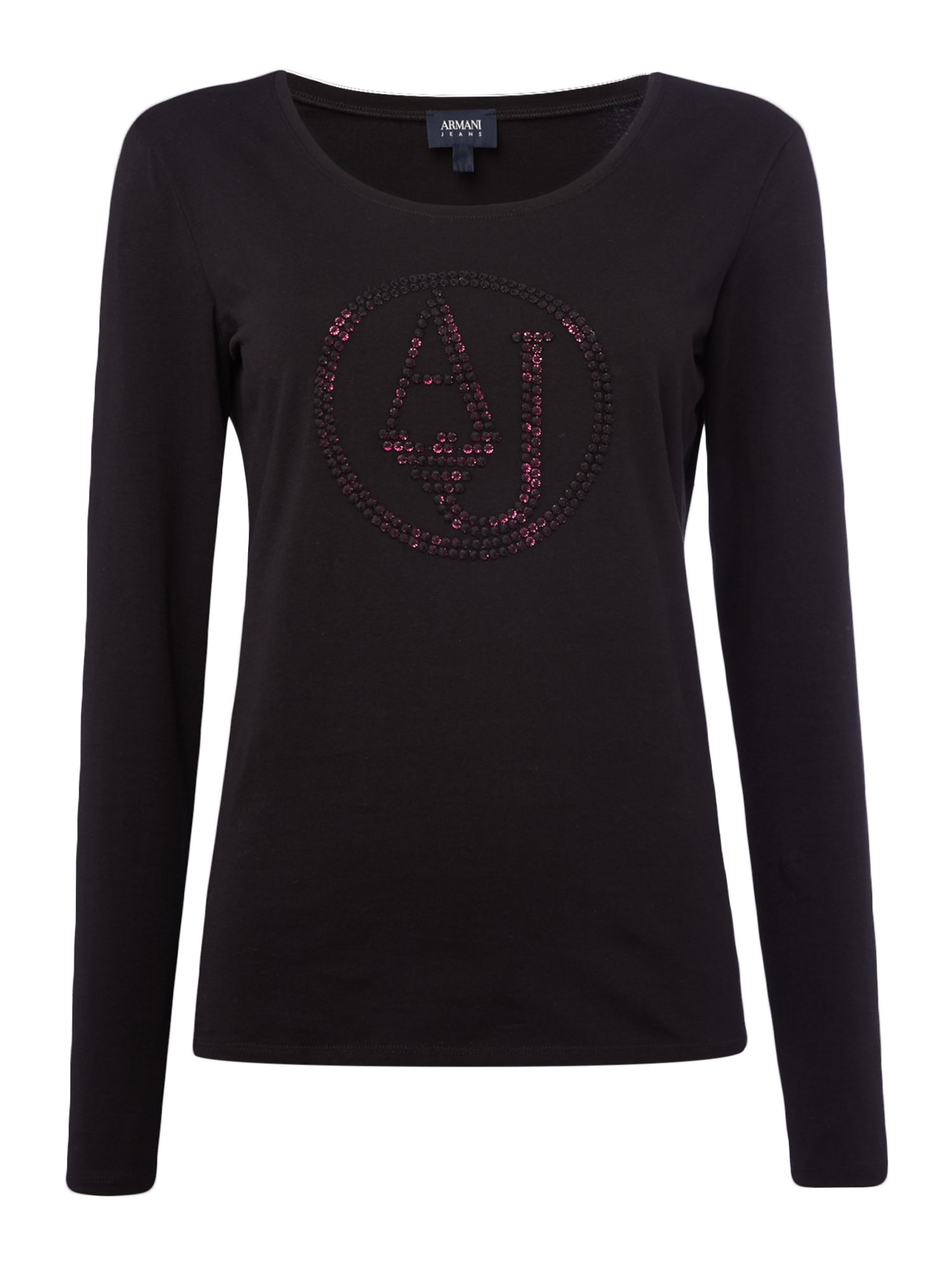 Armani Jeans Crew neck logo top in nero, Black