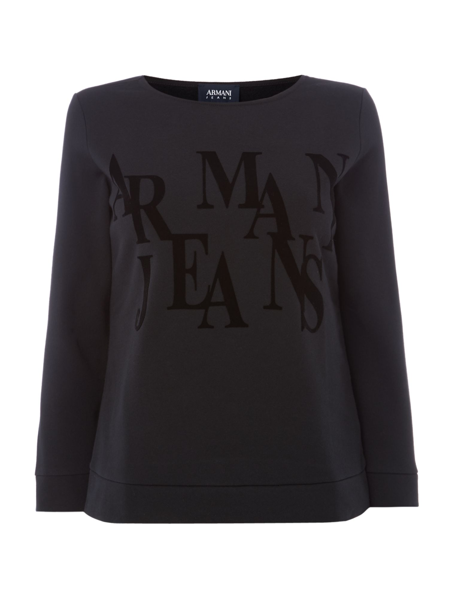 Armani Jeans Crew neck cropped logo top in nero, Black