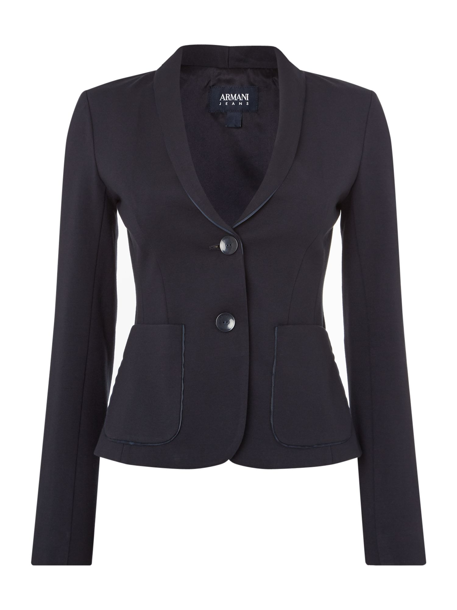 Armani Jeans Fitted blazer jacket in blu notte, Blue