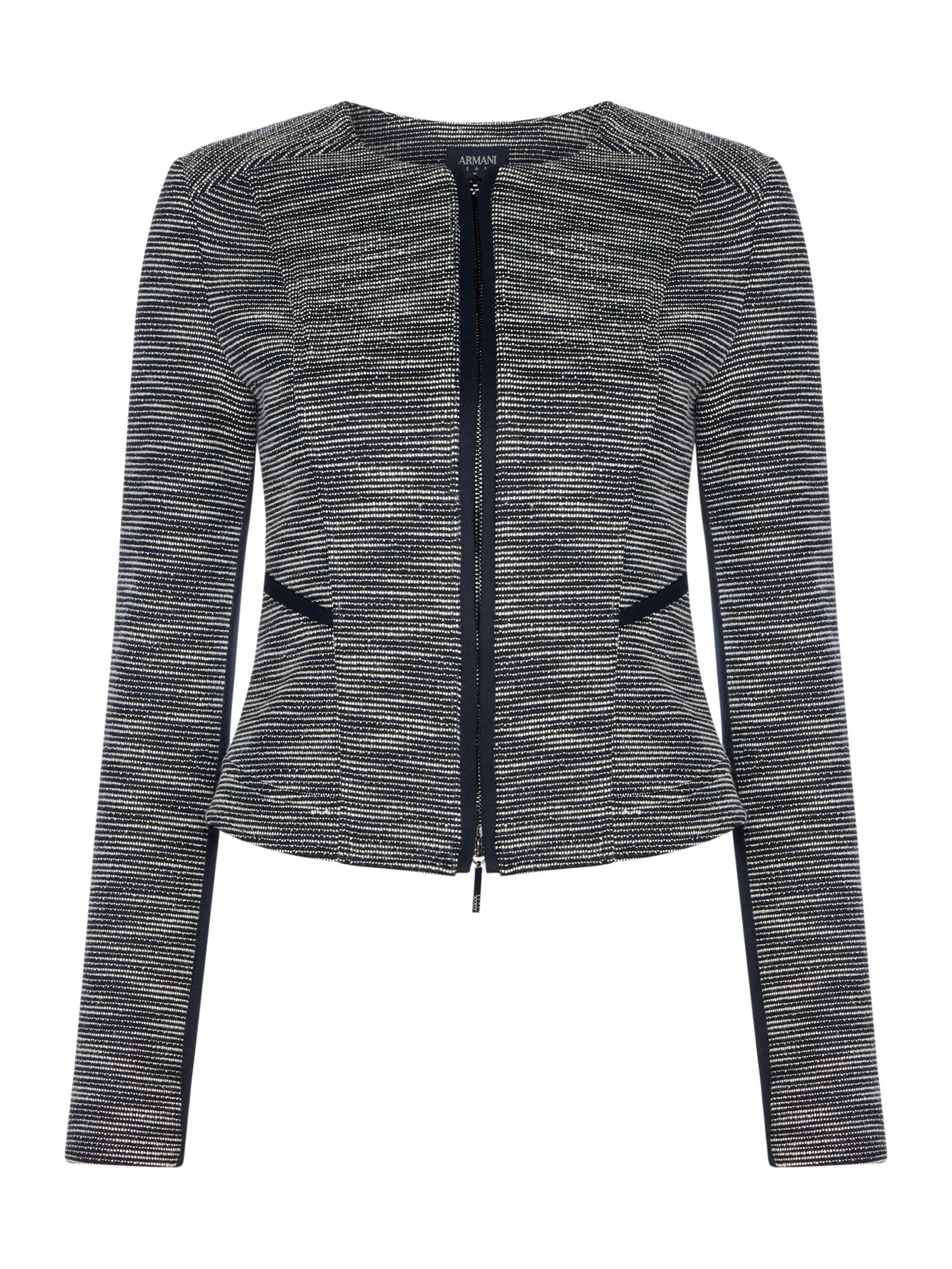 Armani Jeans Crew neck jacket in fantasia blu notte, Blue