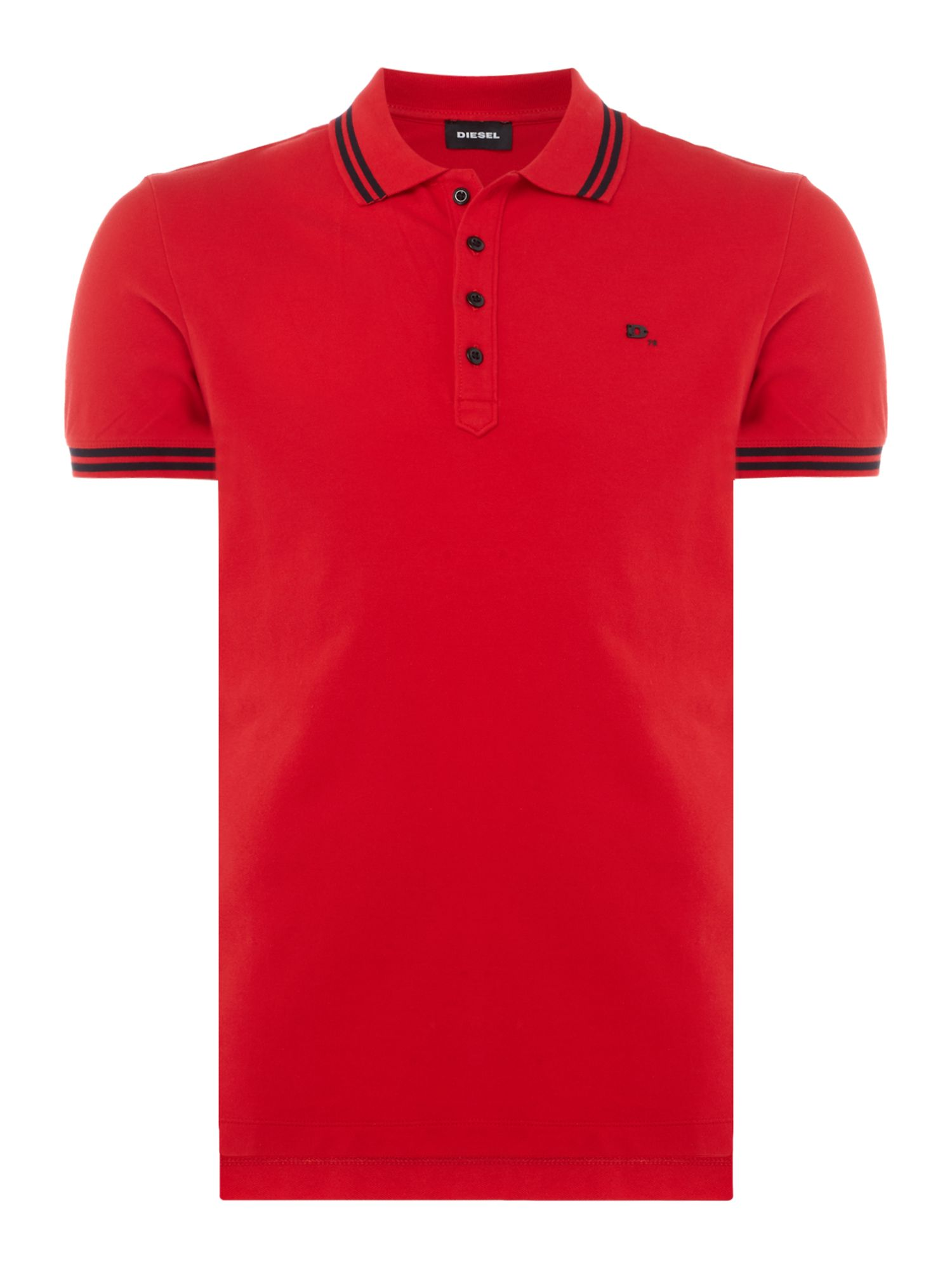 Men's Diesel Tipped Collar Logo Polo, Red