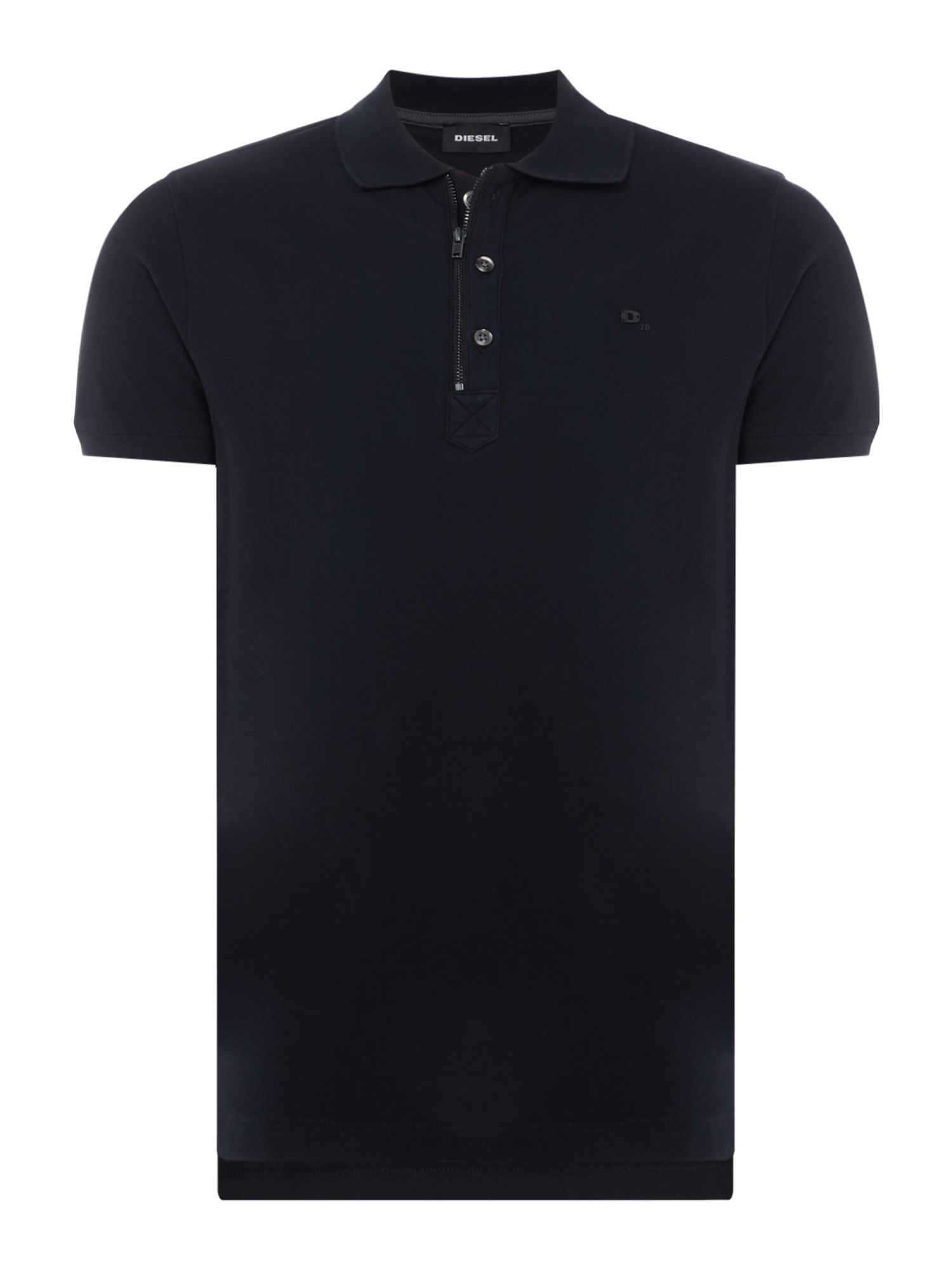Men's Diesel Zip Neck Logo Polo, Black