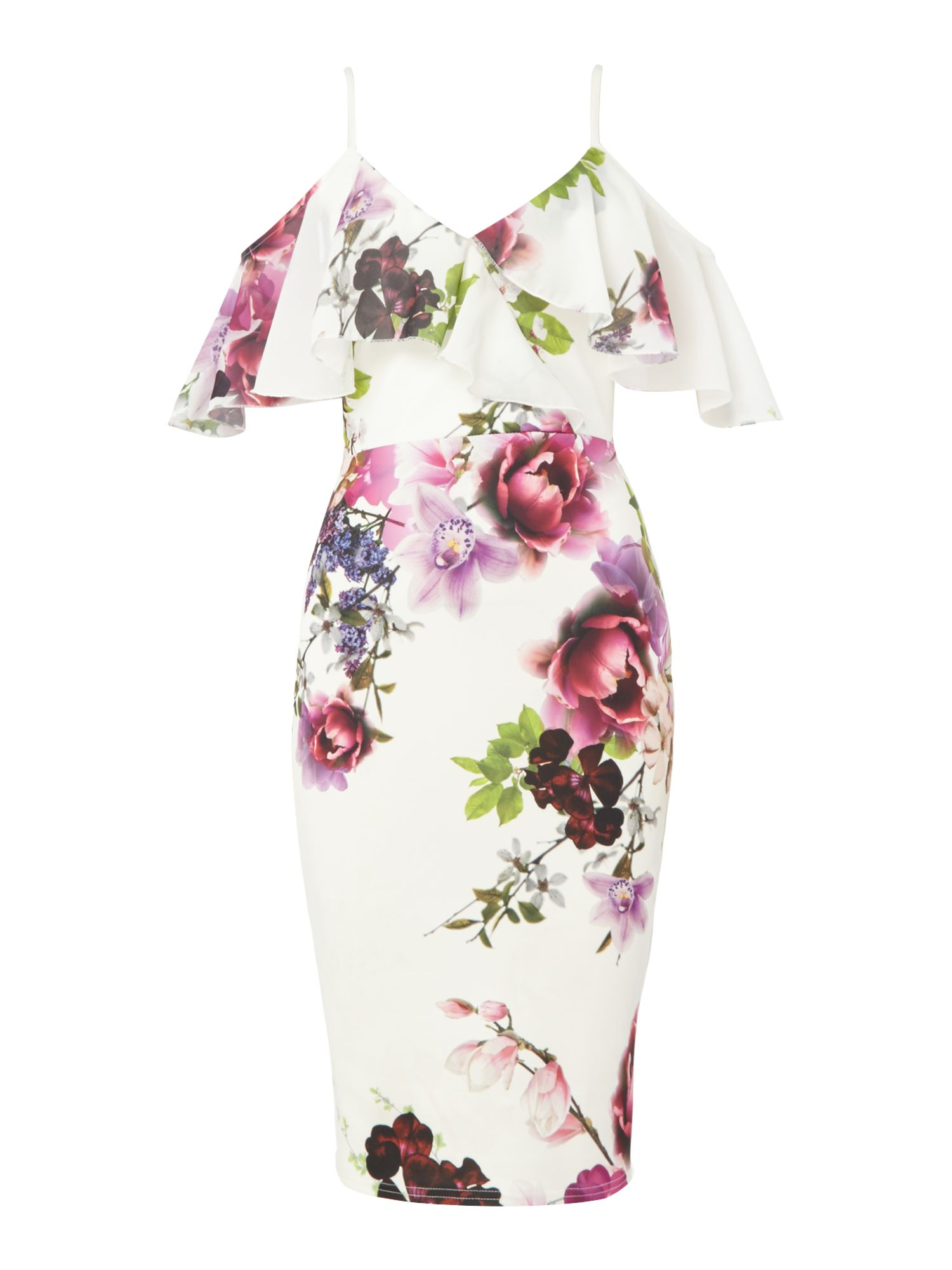 Jessica Wright Floral print thin strap midi dress with ruffles, Multi-Coloured