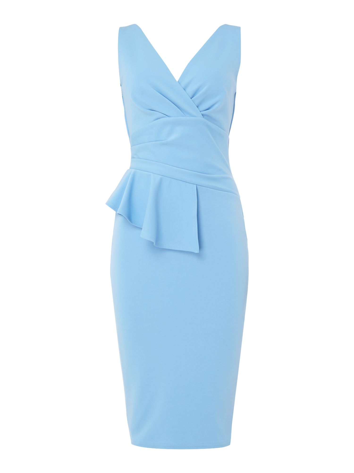 Jessica Wright v neck fitted midi dress with waist detail, Cornflower