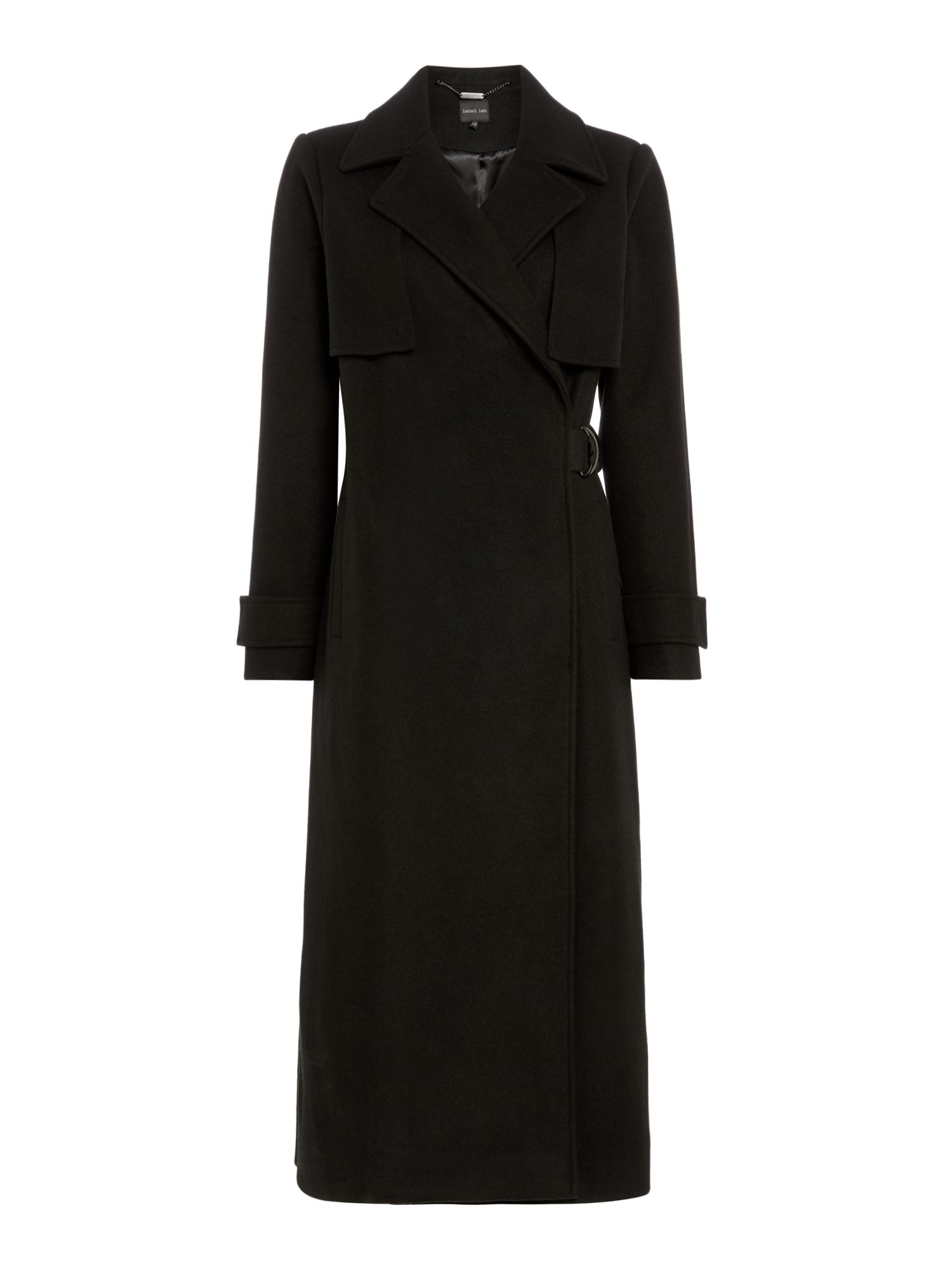 Label Lab Long Strap Detail Coat, Black