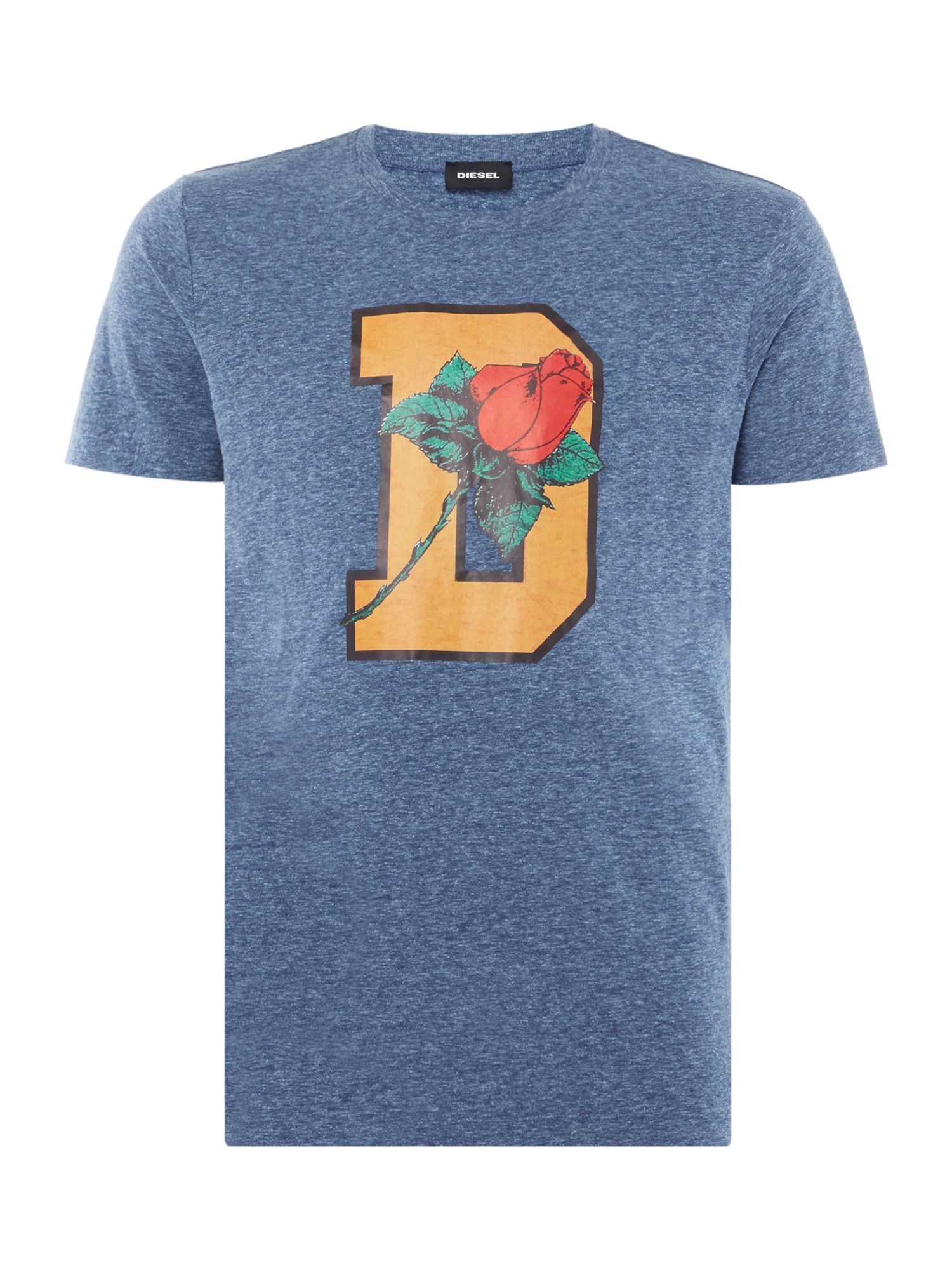 Men's Diesel Rose Print Tshirt, Blue