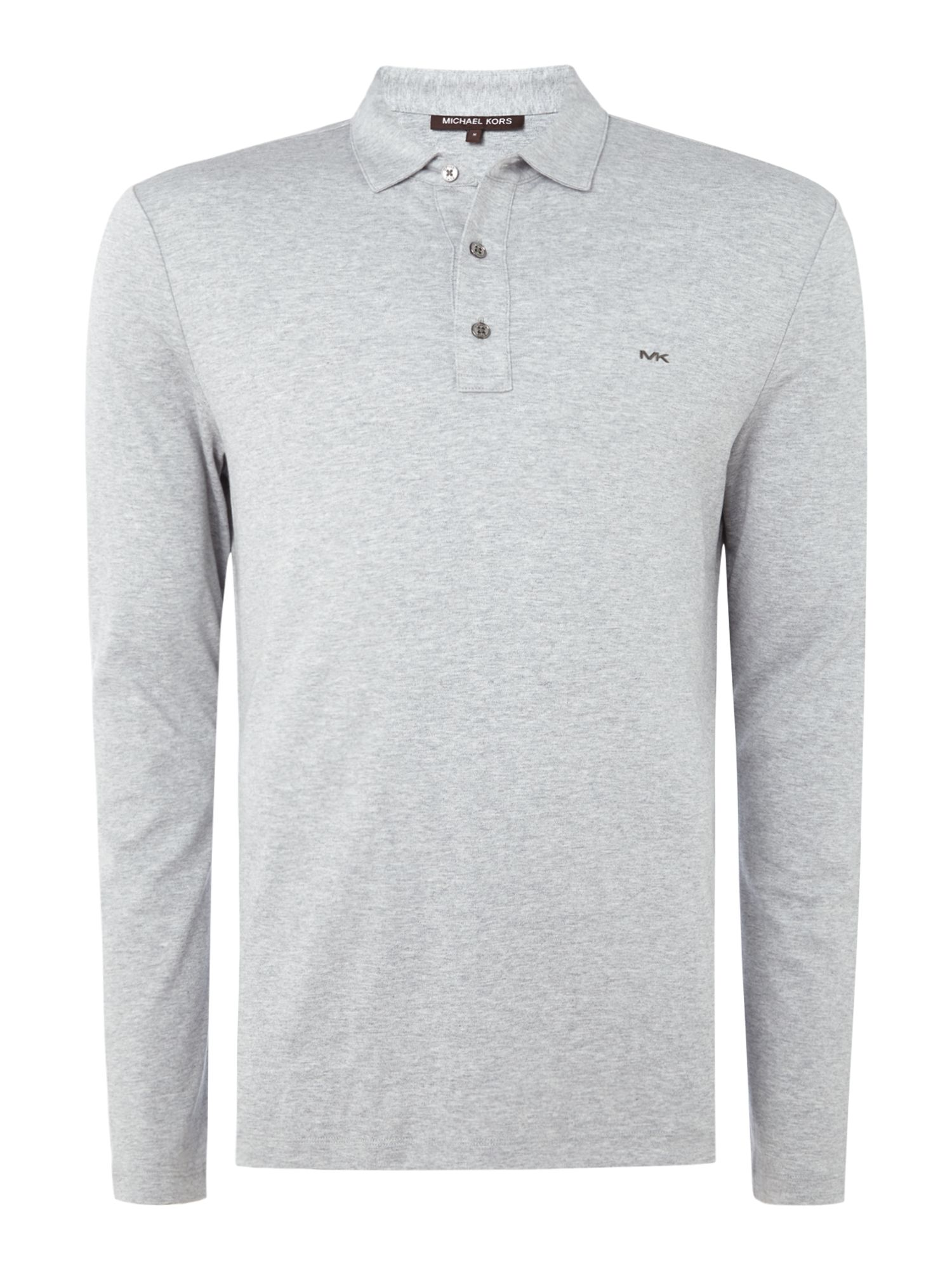 Men's Michael Kors Long Sleeve Slim Fit Polo Shirt, Grey Marl