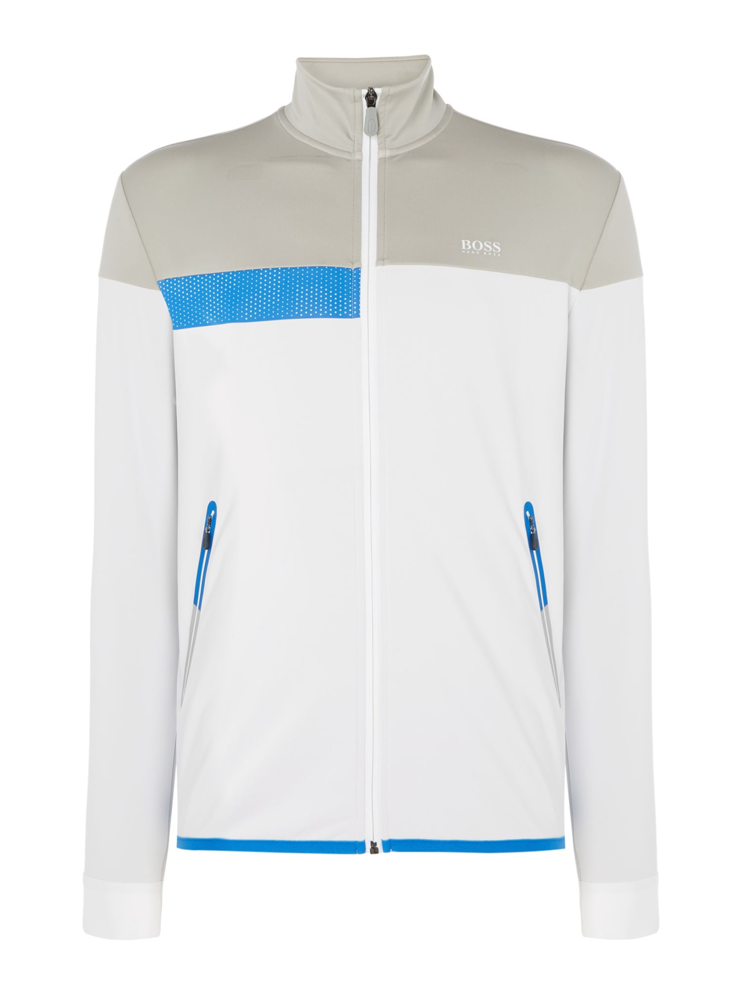 Men's Hugo Boss Sejotech taped pocket zip-up technical sweatshirt, White