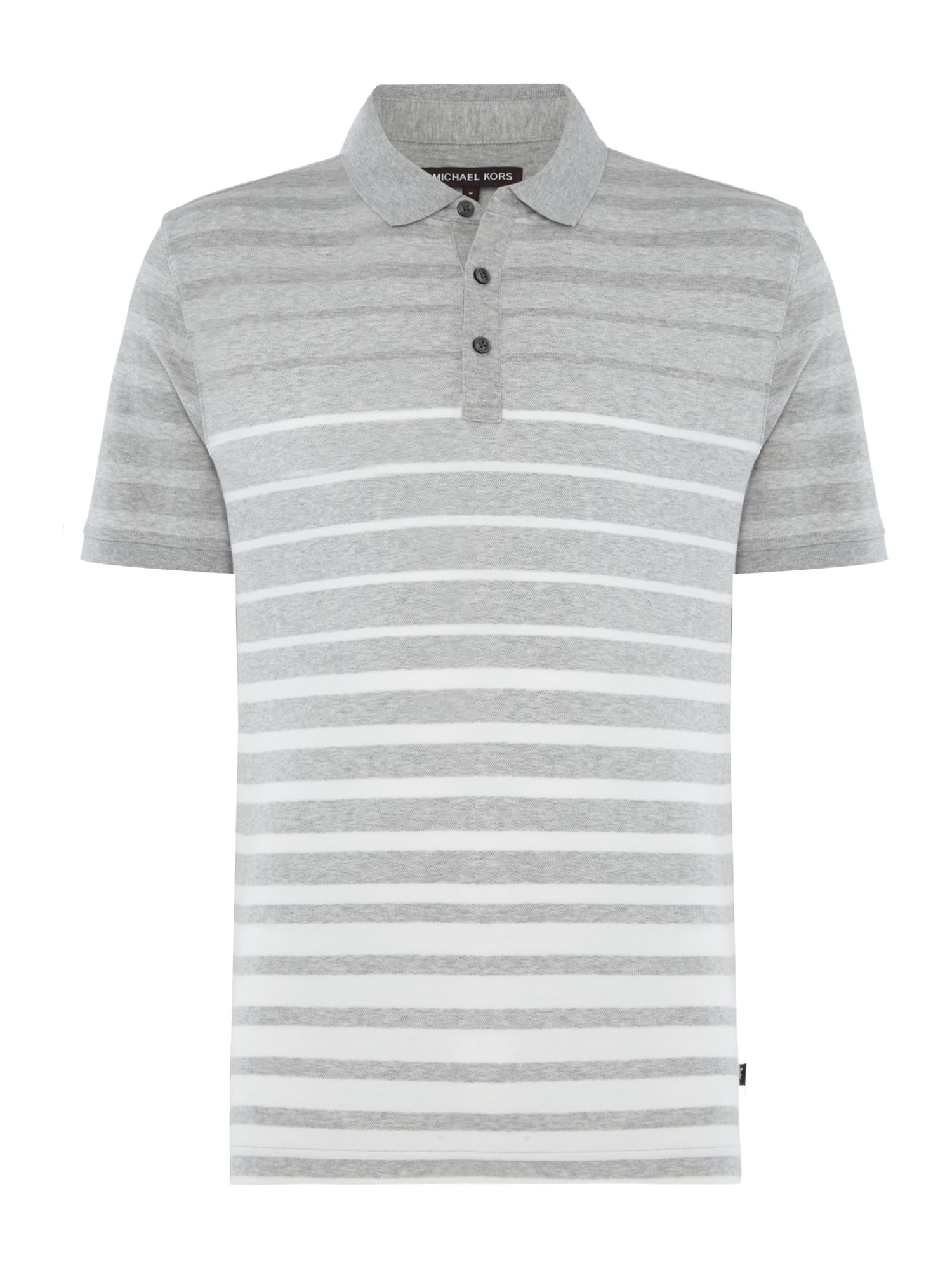 Men's Michael Kors Stiped Short Sleeve Polo Shirt, Grey Marl