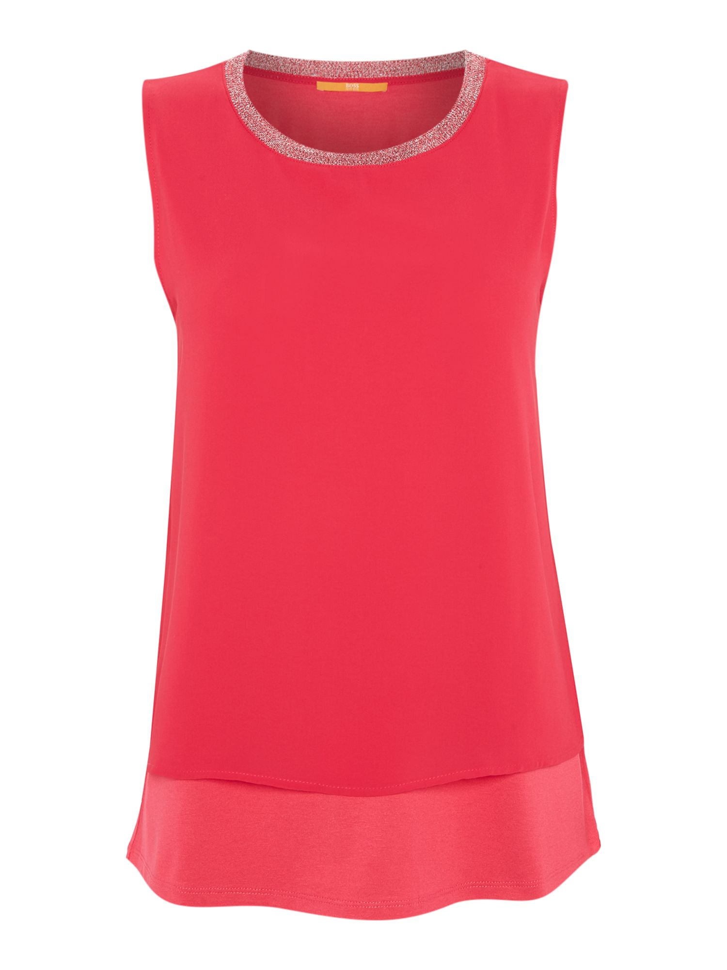 Hugo Boss Topia Embellished Neck Blouse in Bright Pink, Pink