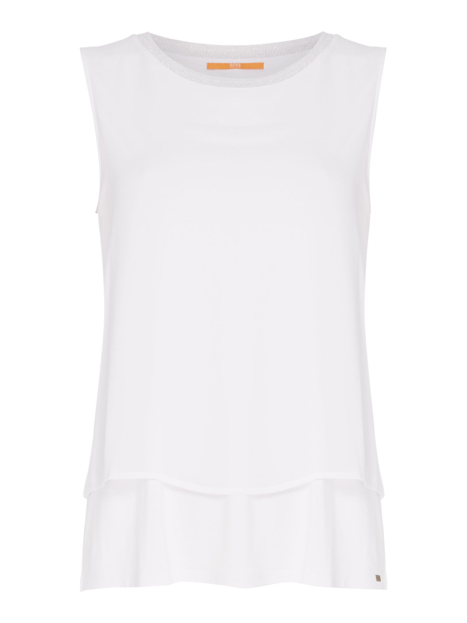 Hugo Boss Topia Embellished Neck Blouse in White, White