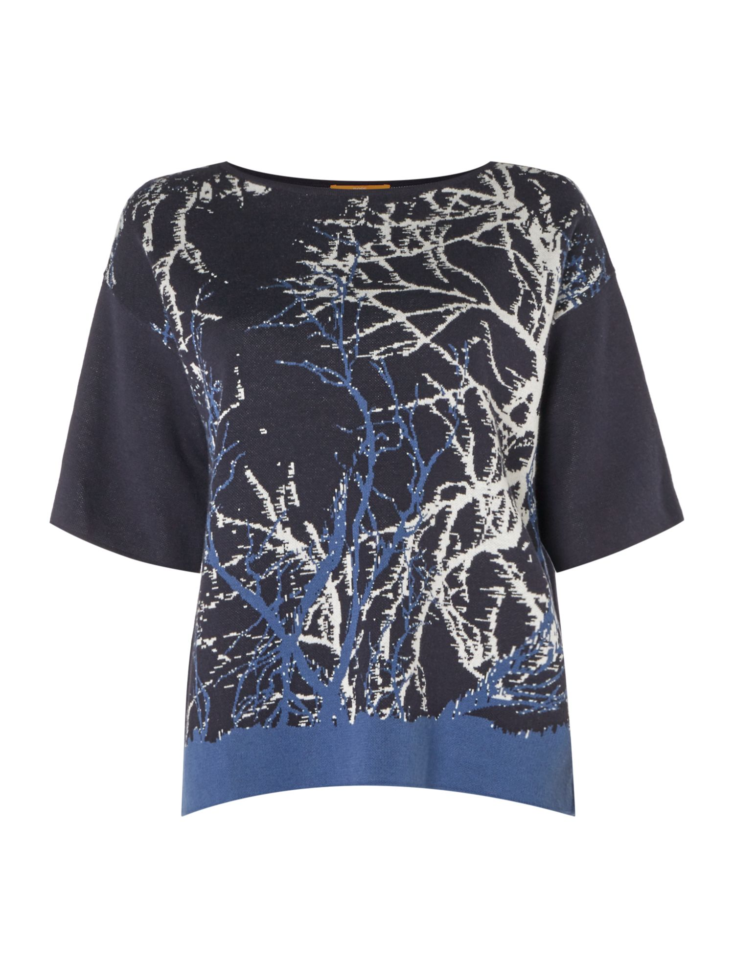 Hugo Boss Izana Jersey Print Top in Dark Blue, Dark Blue