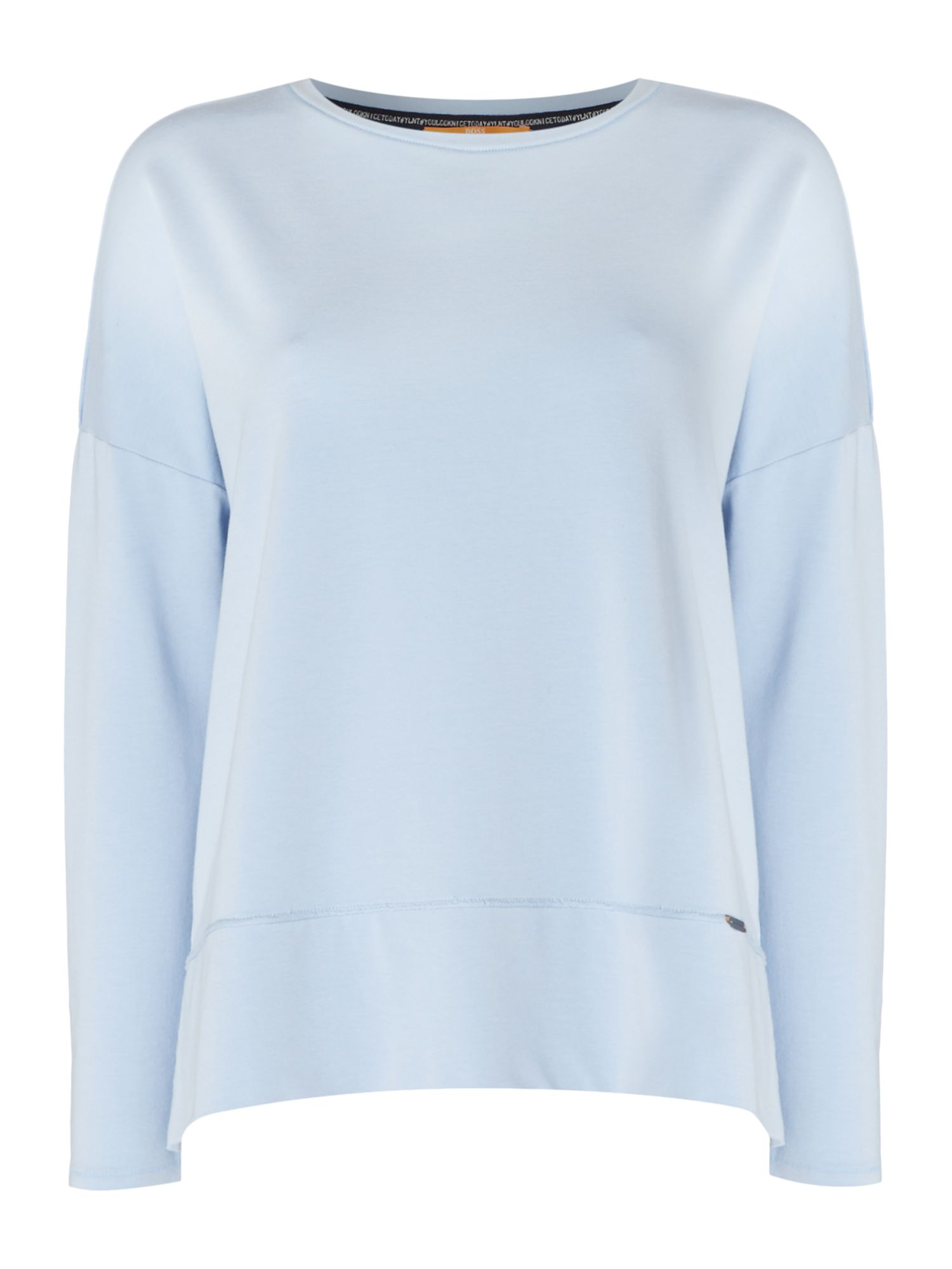Hugo Boss Tersweat Crew Neck Jersey Top in Open Blue, Light Blue